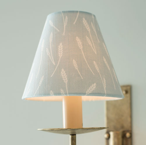 Candle Shade in Duck Egg Blue Wheatfield