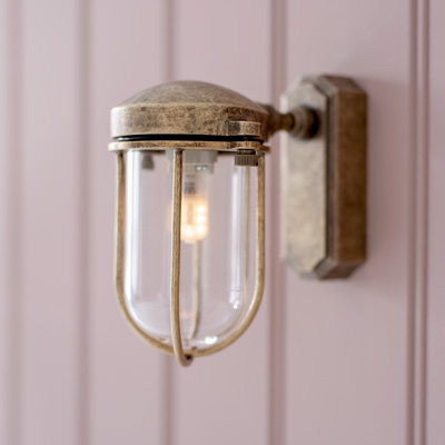 Clipper Outdoor Wall Light in Antiqued Brass