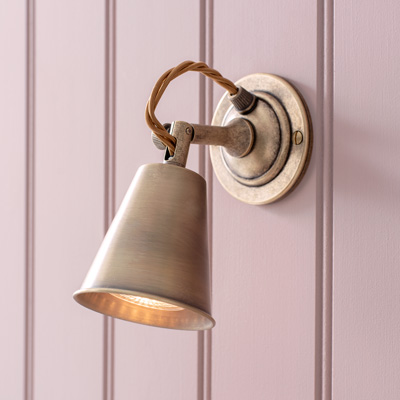 Single Curtis Spotlight in Antiqued Brass