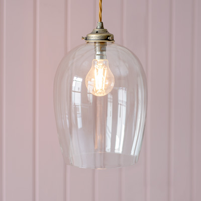 Walcot Glass Pendant in Antiqued Brass