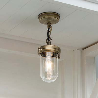 Salcombe Porch Pendant Light in Antiqued Brass