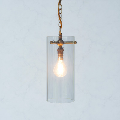 Bellingham Glass Pendant Light in Antiqued Brass