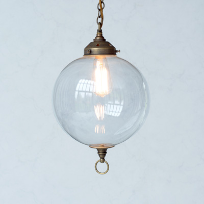 Bloomsbury Glass Pendant Light in Antiqued Brass