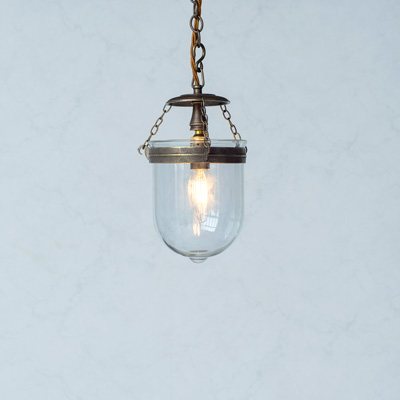 Chichester Glass Pendant Light in Antiqued Brass