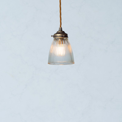 Fisher Glass Pendant Light in Antiqued Brass