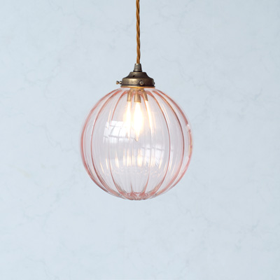 Fulbourn Dusky Pink Light Glass Pendant Light in Antiqued Brass