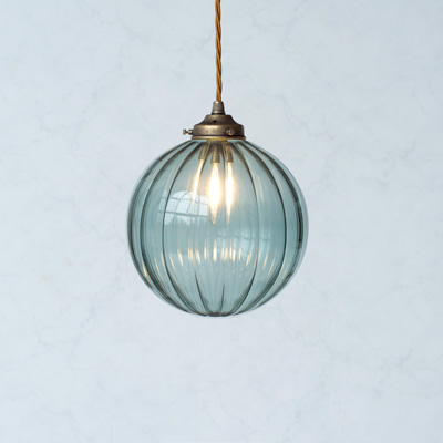Fulbourn Greeny Blue Glass Pendant Light in Antiqued Brass