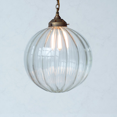 Greenwich Glass Pendant Light in Antiqued Brass