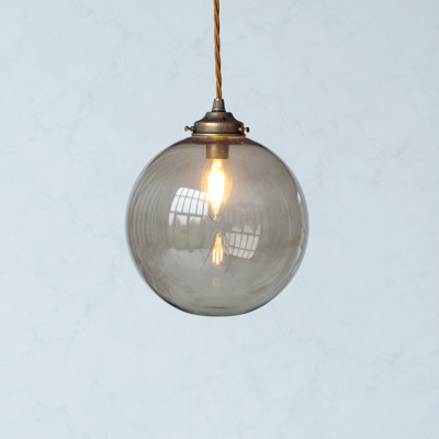 Holborn Charcoal Glass Pendant Light in Antiqued Brass
