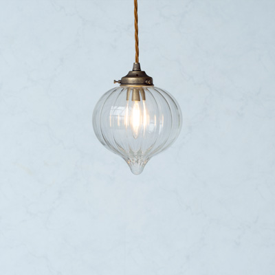 Mia Glass Pendant Light in Antiqued Brass