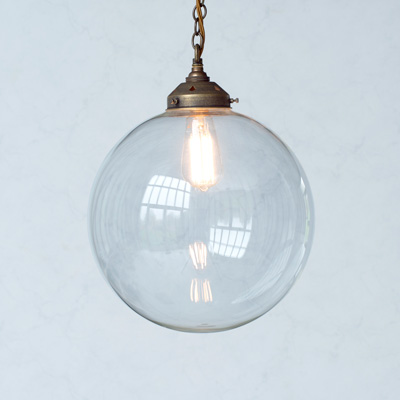 Richmond Glass Pendant Light in Antiqued Brass