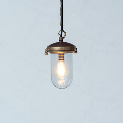 Salcombe Glass Pendant Light in Antiqued Brass