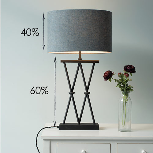Table lampshade showing base vs height