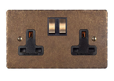 2 Gang Socket, Brass Switches, Antiqued Brass, Hammered