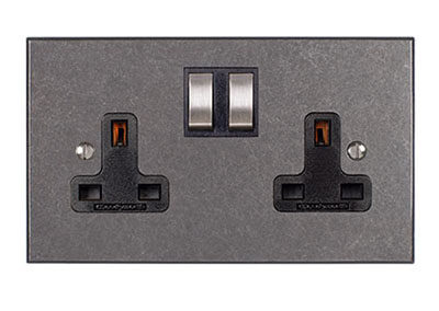 2 Gang Socket, Polished, Steel Switches