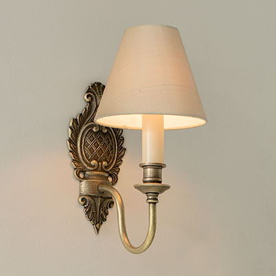 Single Hambelton Wall Light in Antiqued Brass