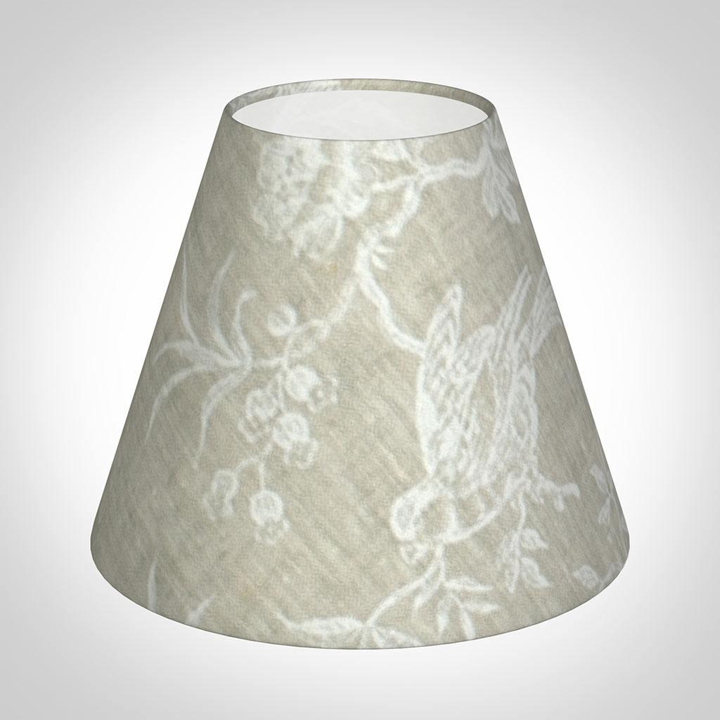 Candle Shade in White Isabelle Linen (BirdPattern)