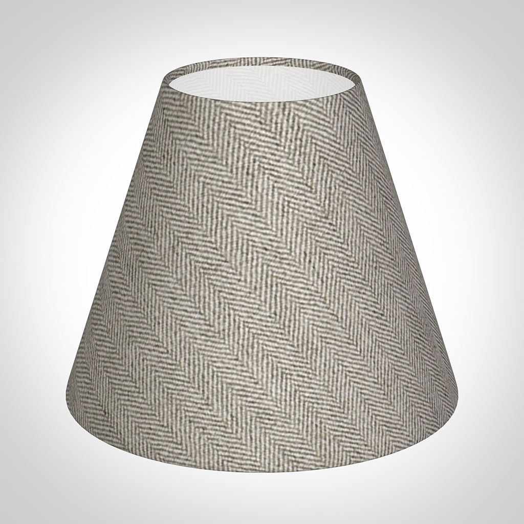 Candle Shade in Limestone Herringbone Lovat Tweed