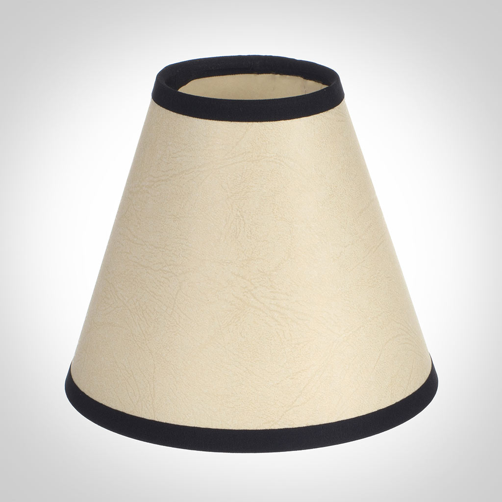 Candle Shade in Parchment with Black Trim
