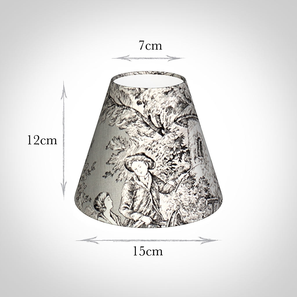 Candle Shade in Grey Pastoral Toile De Jouy