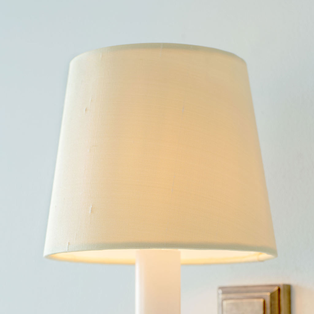 French Drum Candle Shade in Buttermilk Silk