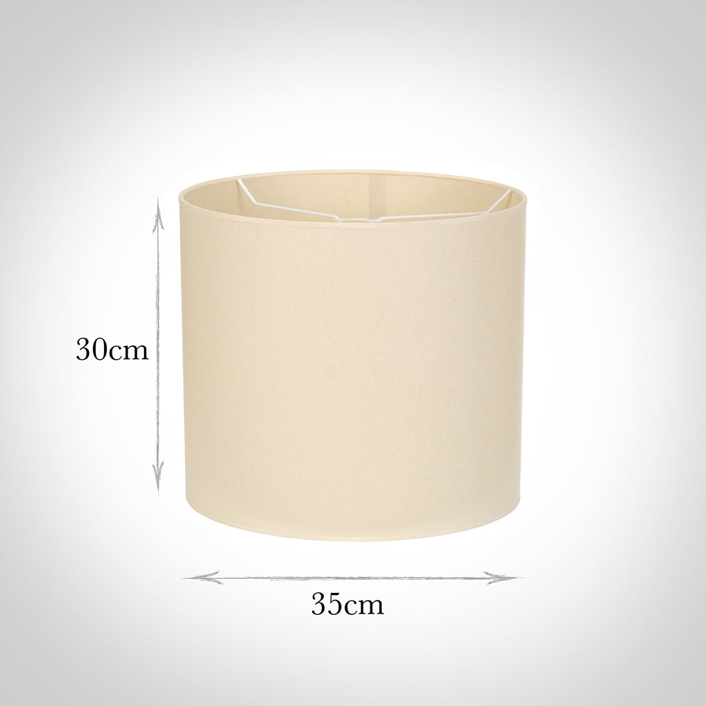 35cm Medium Cylinder Shade in Parchment withCream Trim