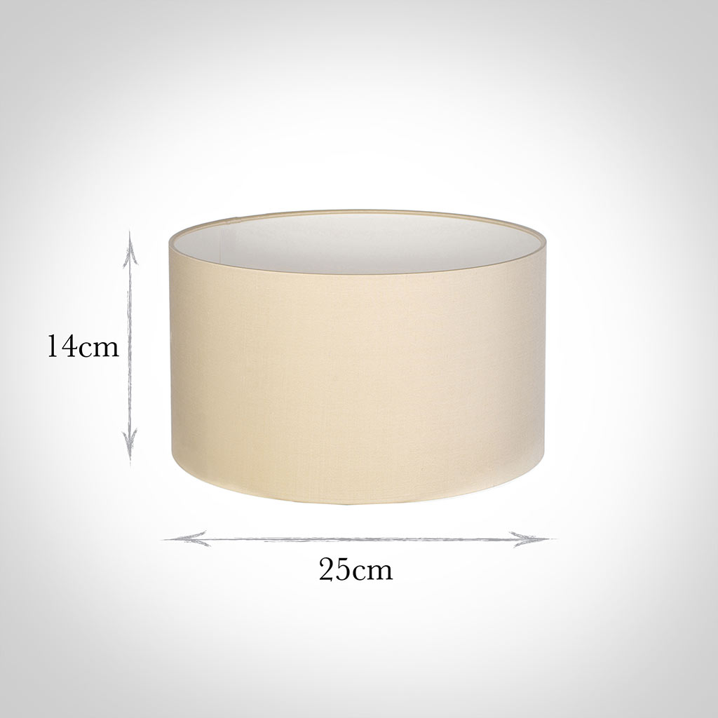 25cm Wide Cylinder Shade in Buttermilk Silk