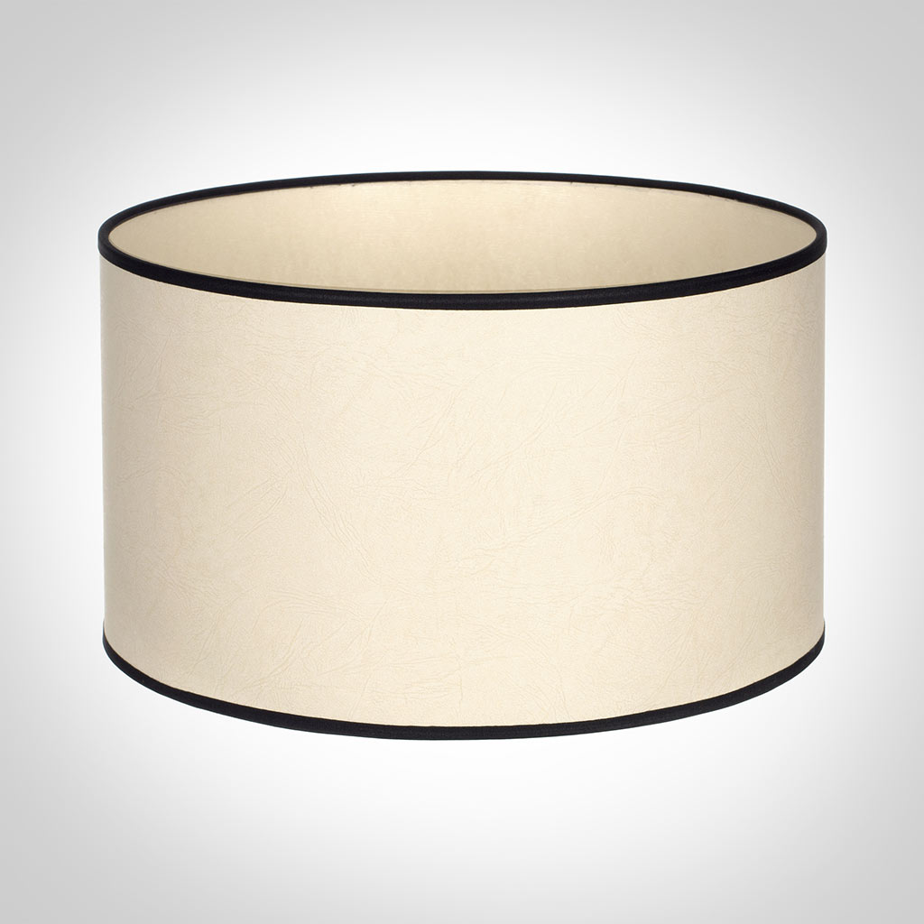 30cm Wide Cylinder Shade in Parchment with Black Trim