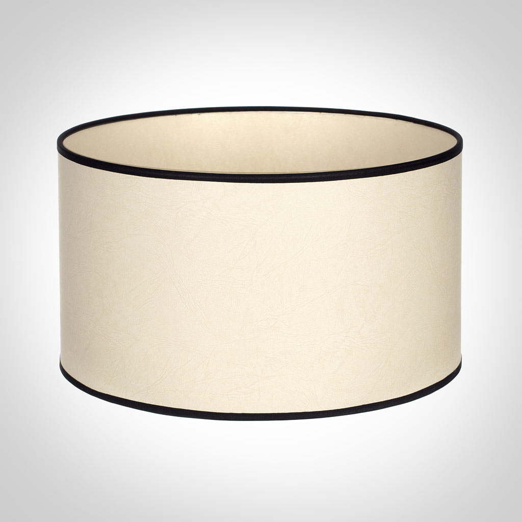 35cm Wide Cylinder Shade in Parchment with Black Trim