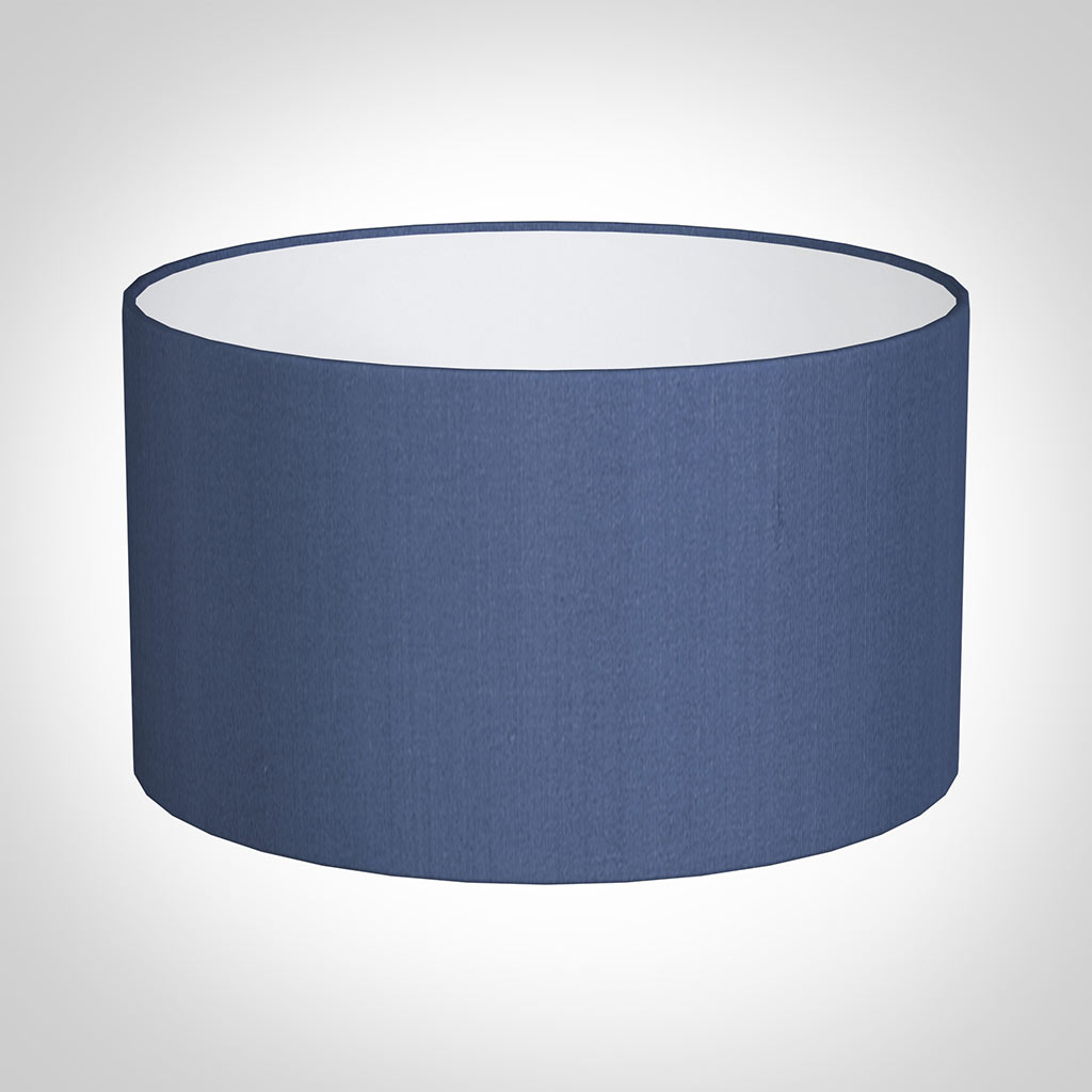 35cm Wide Cylinder Shade in Slate Blue Silk