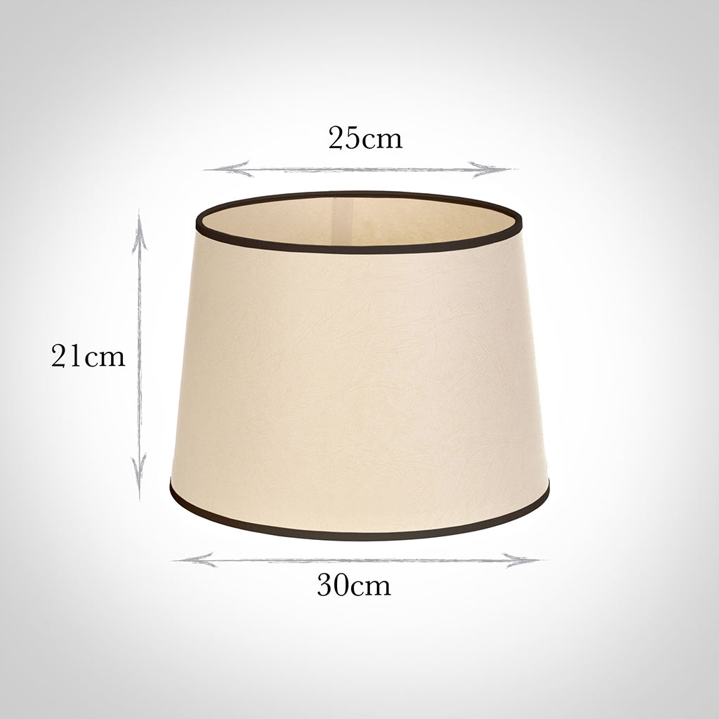 30cm Medium French Drum Shade in Parchment withBlack Trim