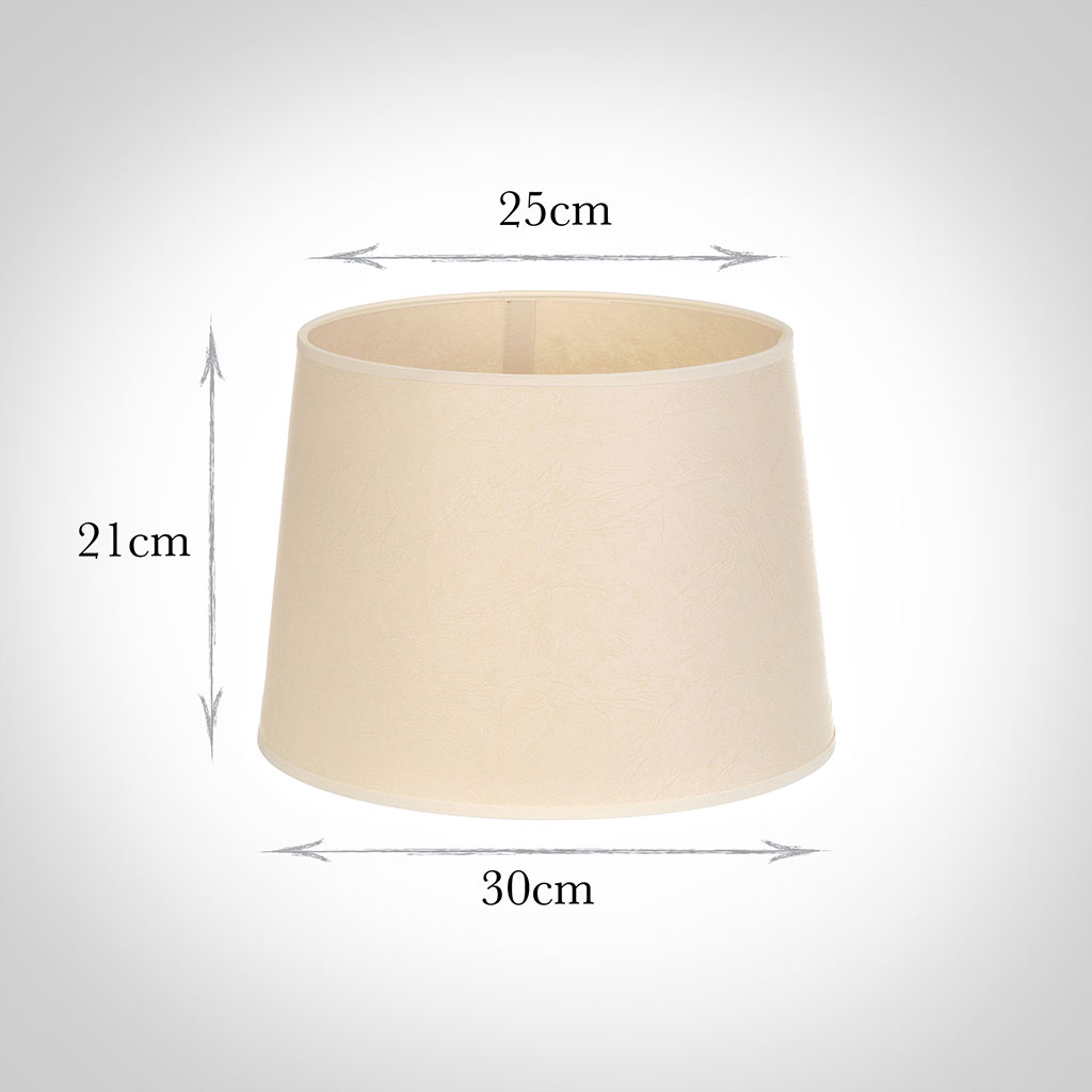 30cm Pendant Medium French Drum Shade in Parchmentwith Cream Trim
