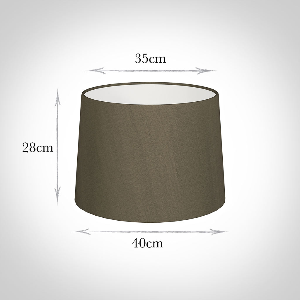 40cm Medium French Drum Shade in Bronze Brown Silk