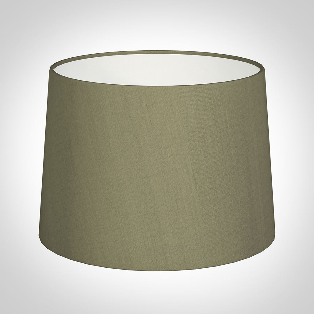 40cm Medium French Drum Shade in Watered Green Silk