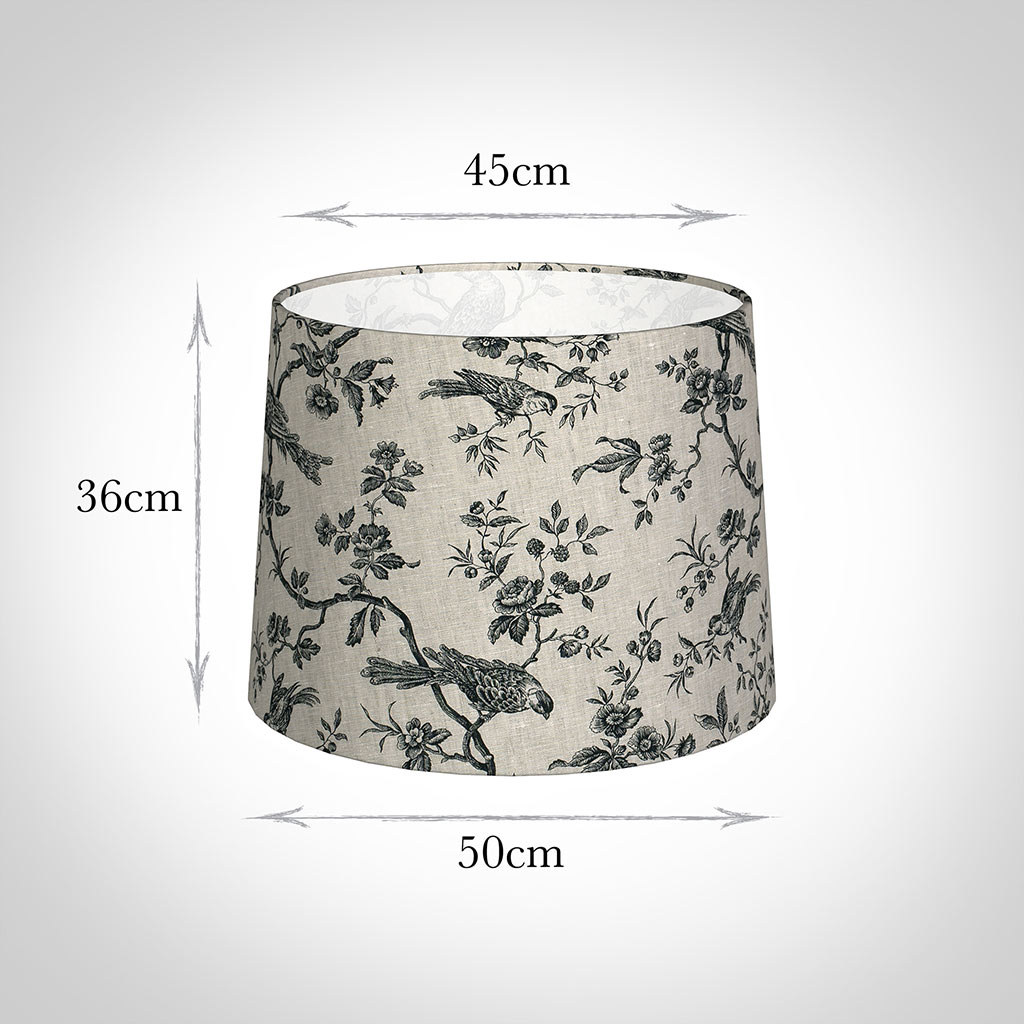 50cm Medium French Drum Shade in Black Isabelle Linen