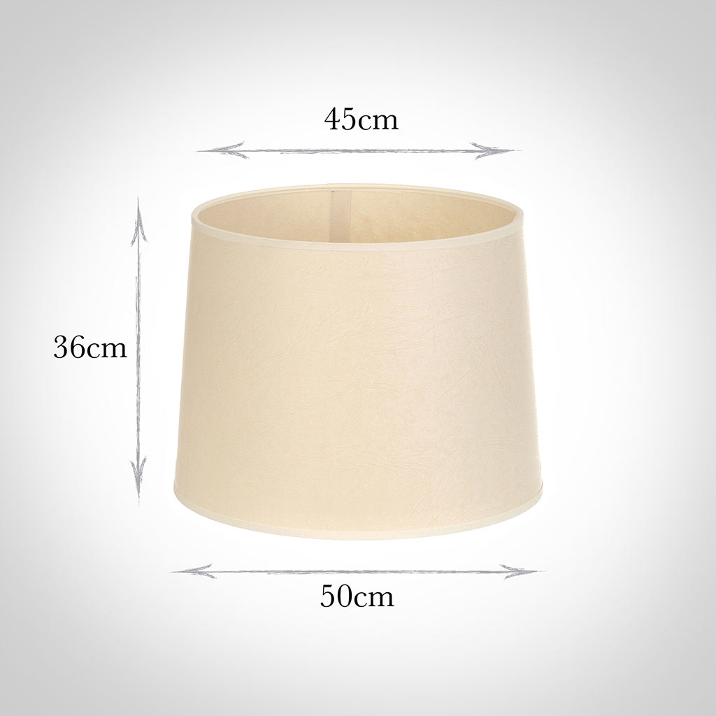 50cm Medium French Drum Shade in Parchment withCream Trim