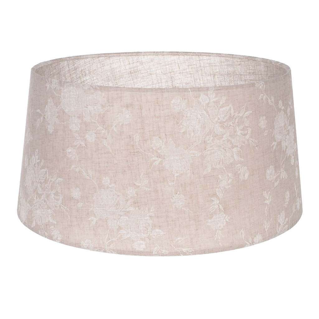 45cm Pendant Wide French Drum Shade in Natural & White Lisette Voile with Clear Lining