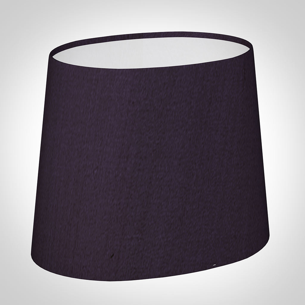 20cm Sloped Oval Shade in Deep Aubergine Silk(discontinued, only stock shown available)