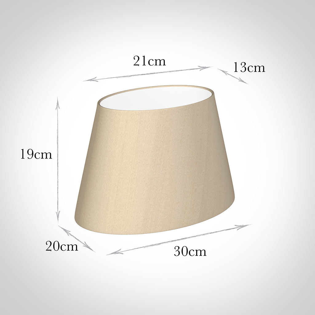 30cm Sloped Oval Shade in Royal Oyster Silk (with Shade Ring)