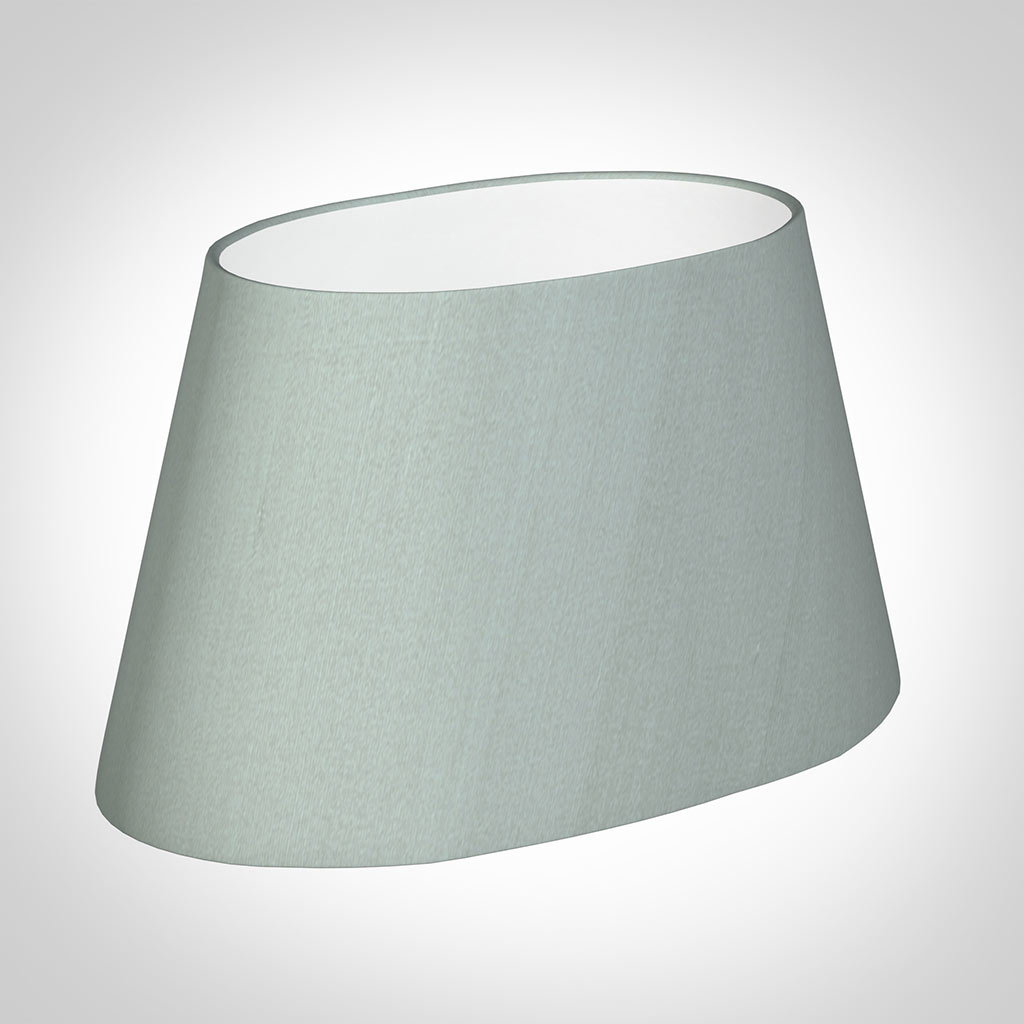 40cm Sloped Oval Shade in French Grey Silk
