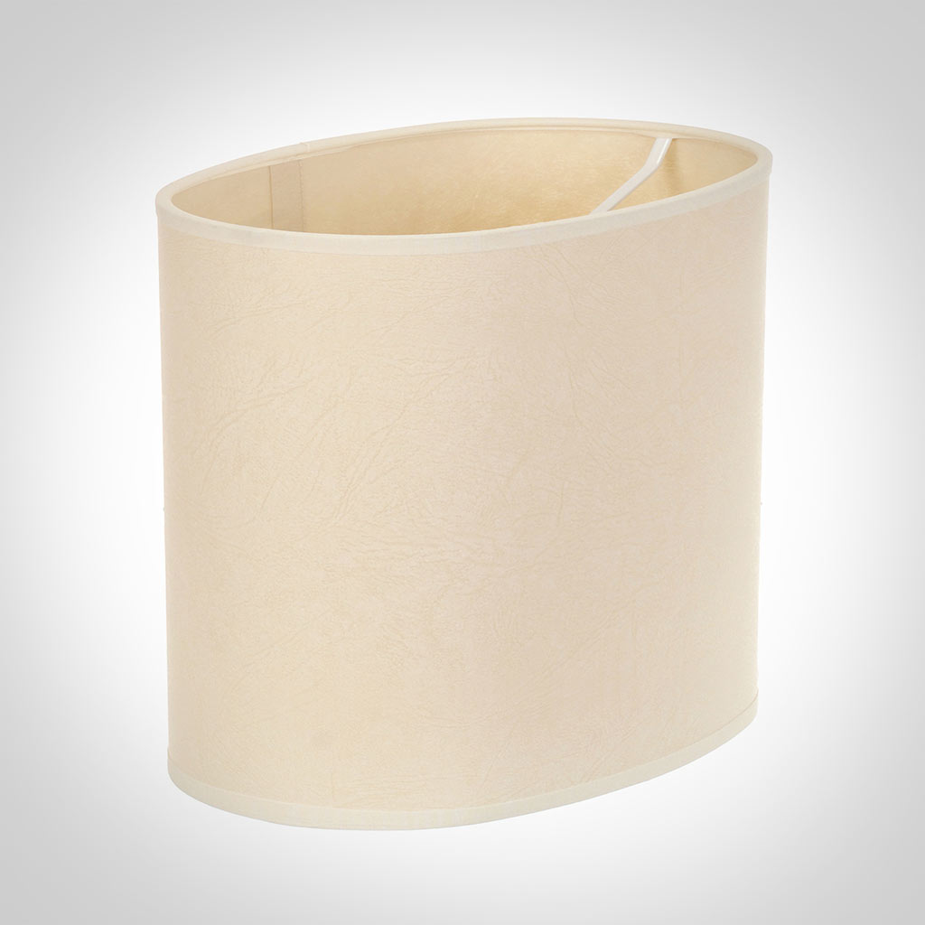 20cm Straight Oval Shade in Parchment with CreamTrim