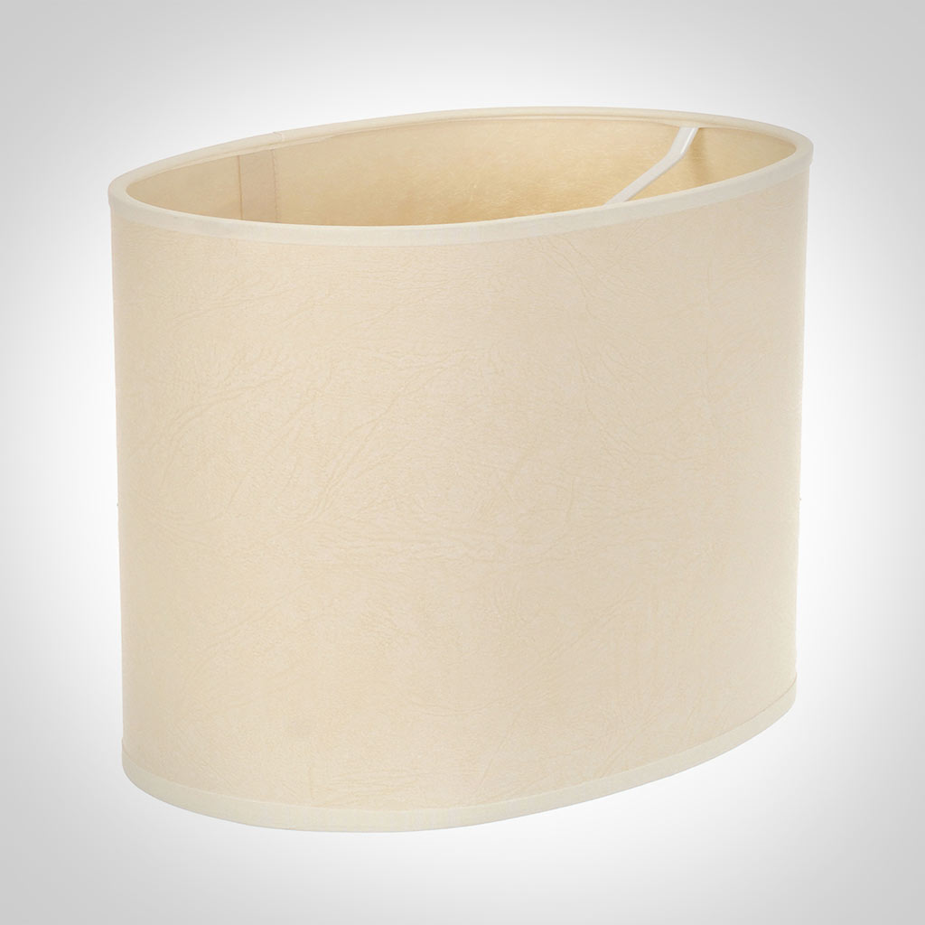 25cm Straight Oval Shade in Parchment with CreamTrim