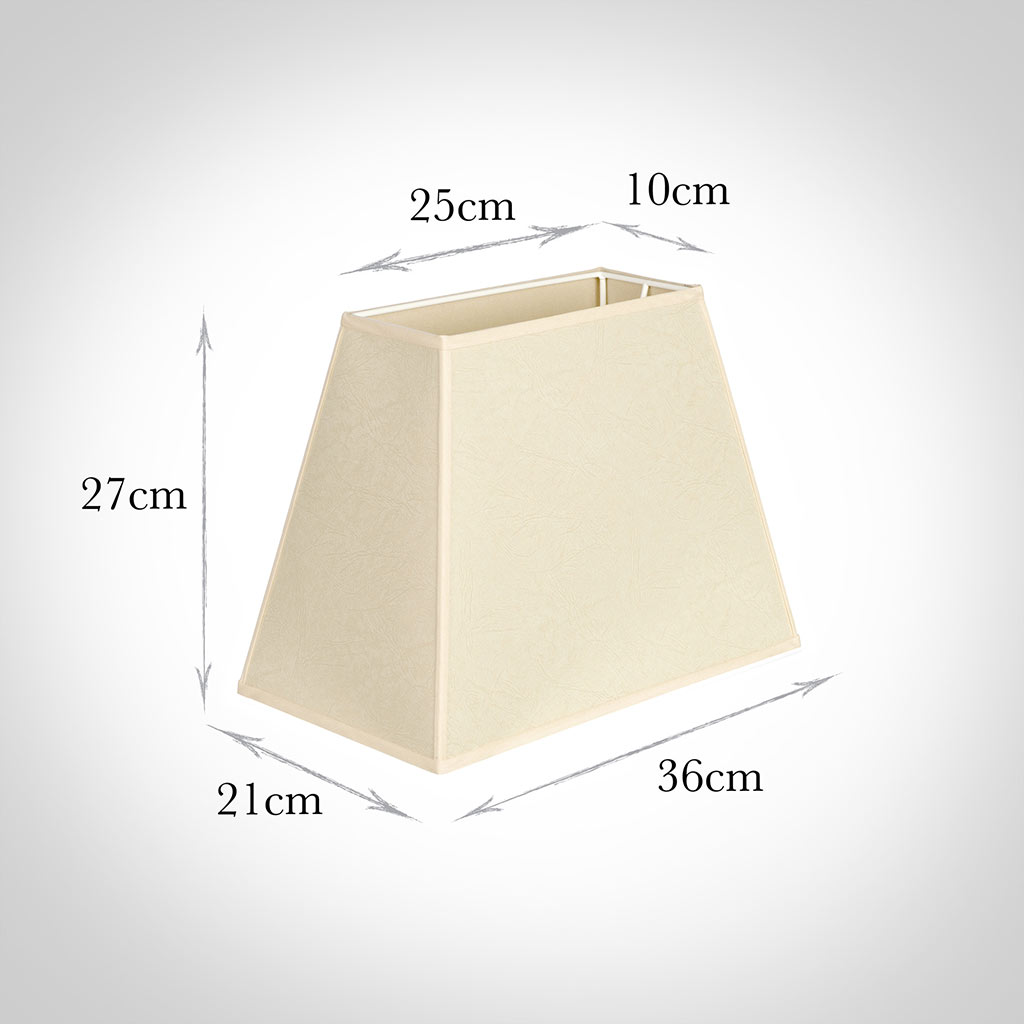 36cm Sloped Rectangular Shade in Parchment withCream Trim