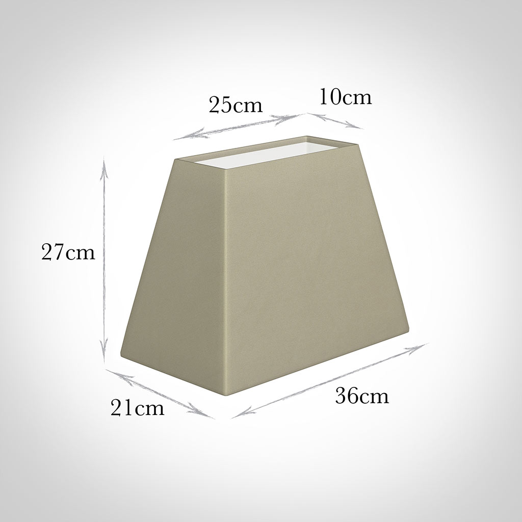 36cm Sloped Rectangular Shade in Pale Smoke Satin