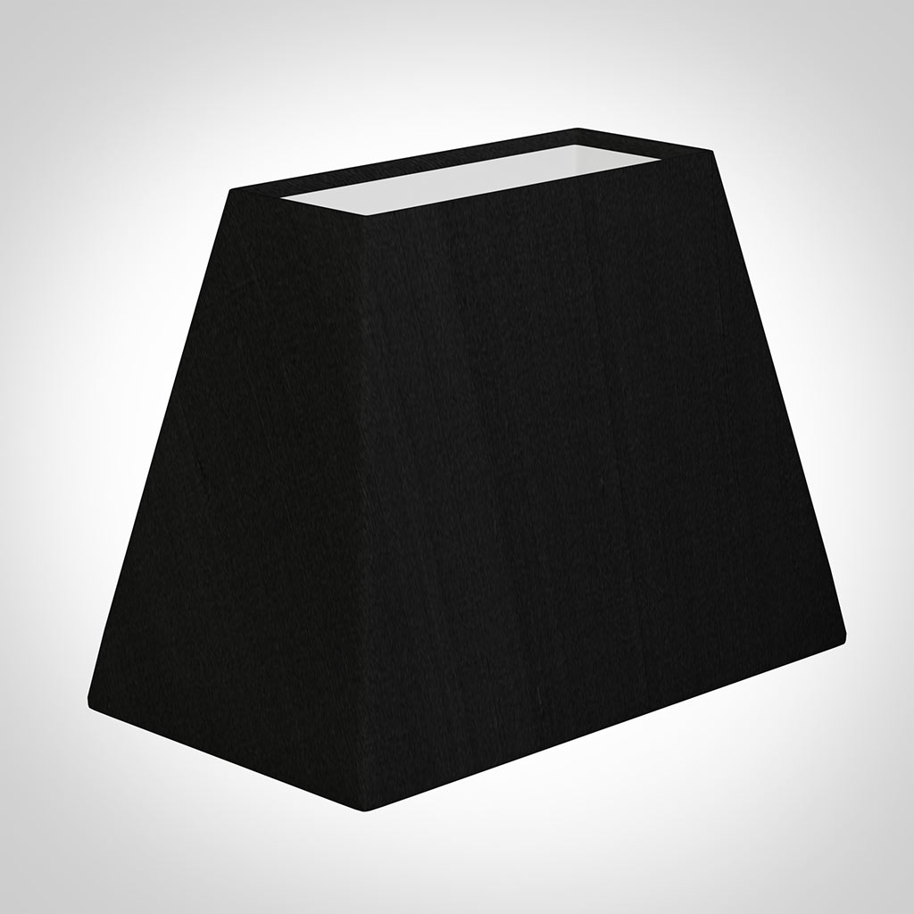 36cm Rectangular Lamp Shade Black Silk Sloped Sides