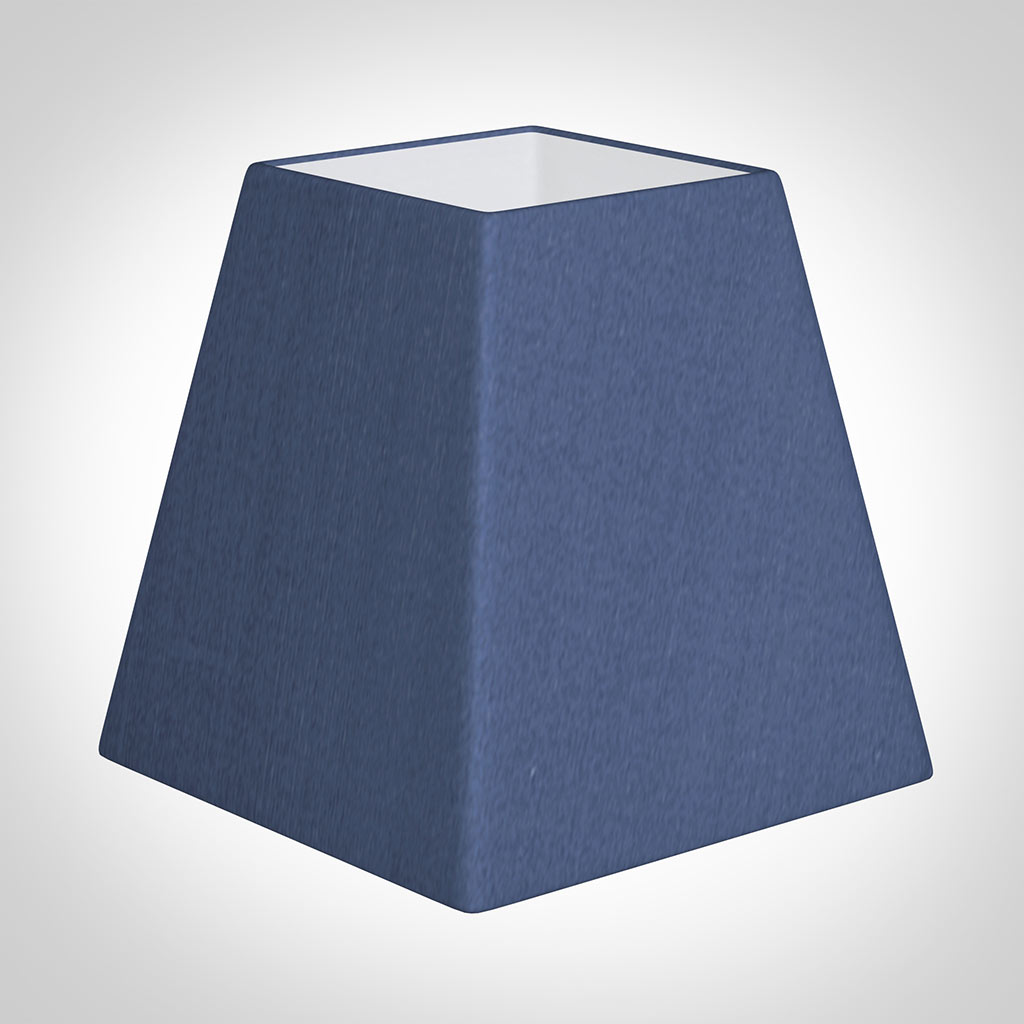 15cm Sloped Square Shade in Slate Blue Silk