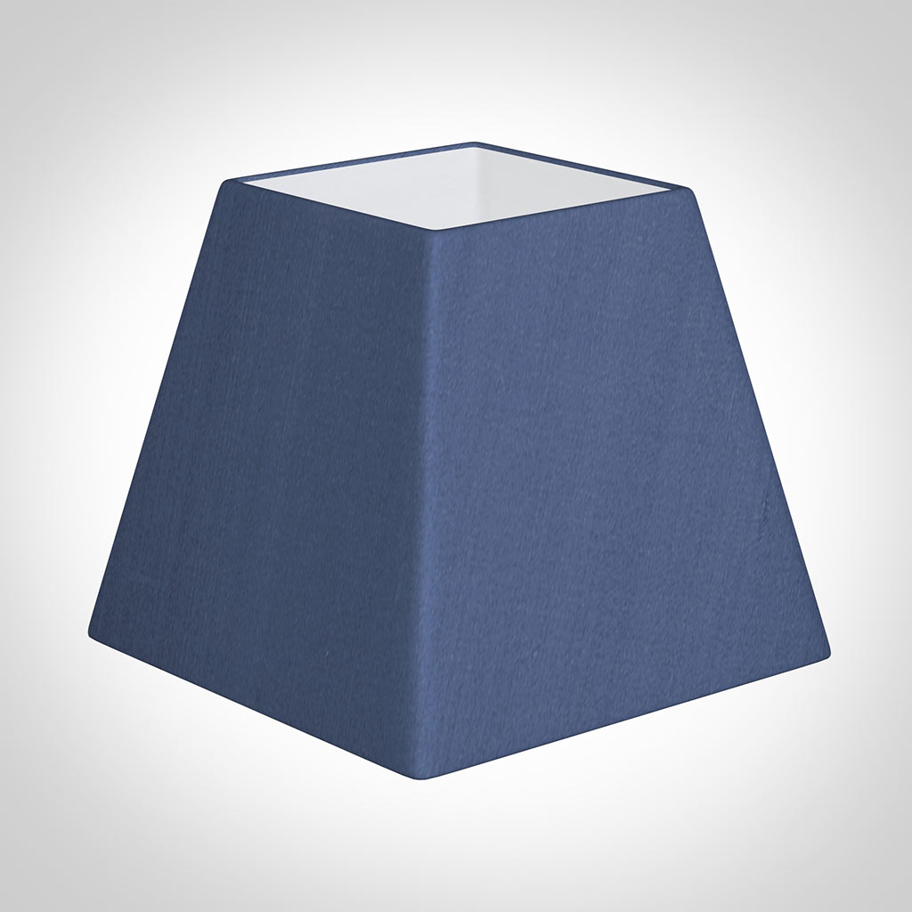 25cm Sloped Square Shade in Slate Blue Silk