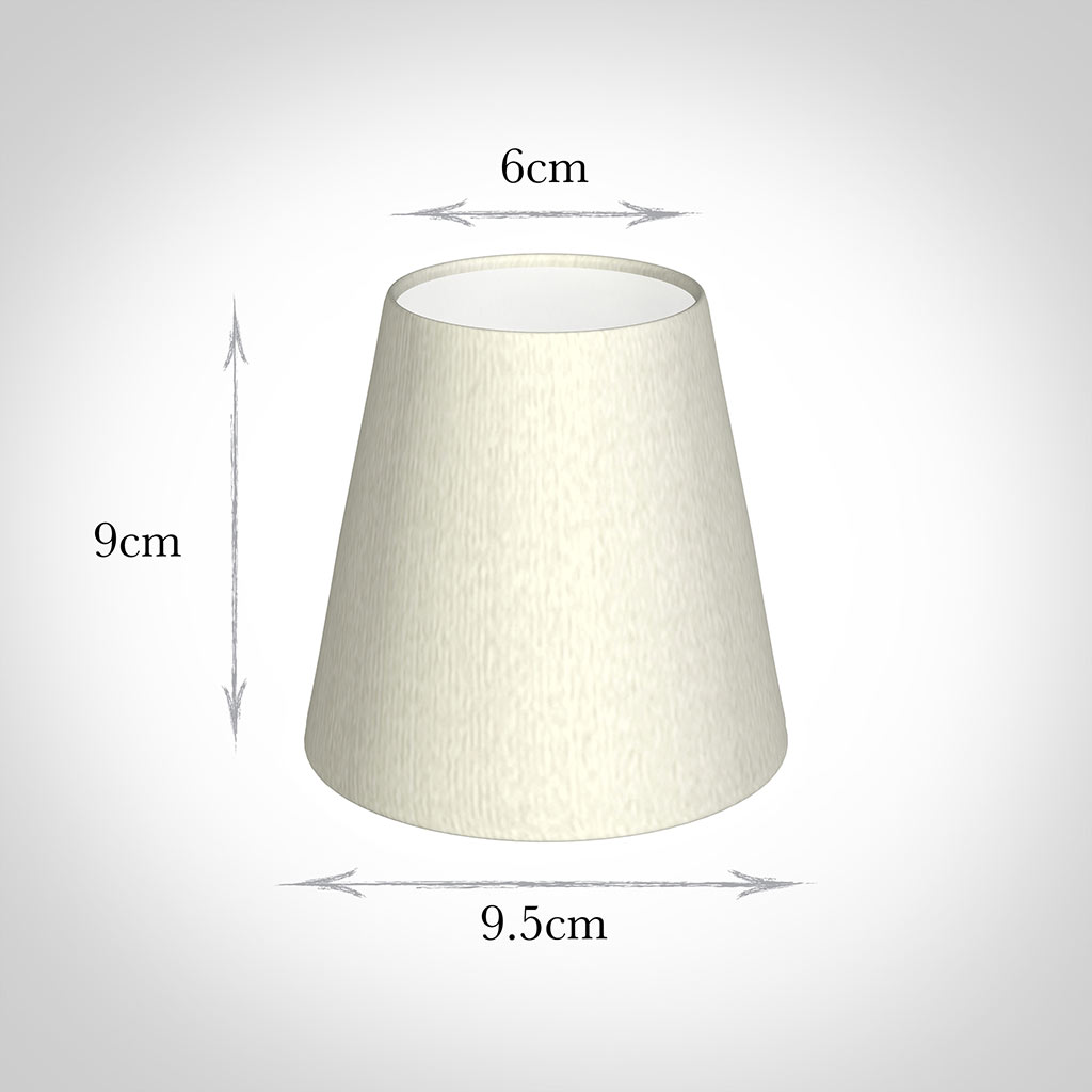 Tapered Candle Shade in Pearl Faux Silk