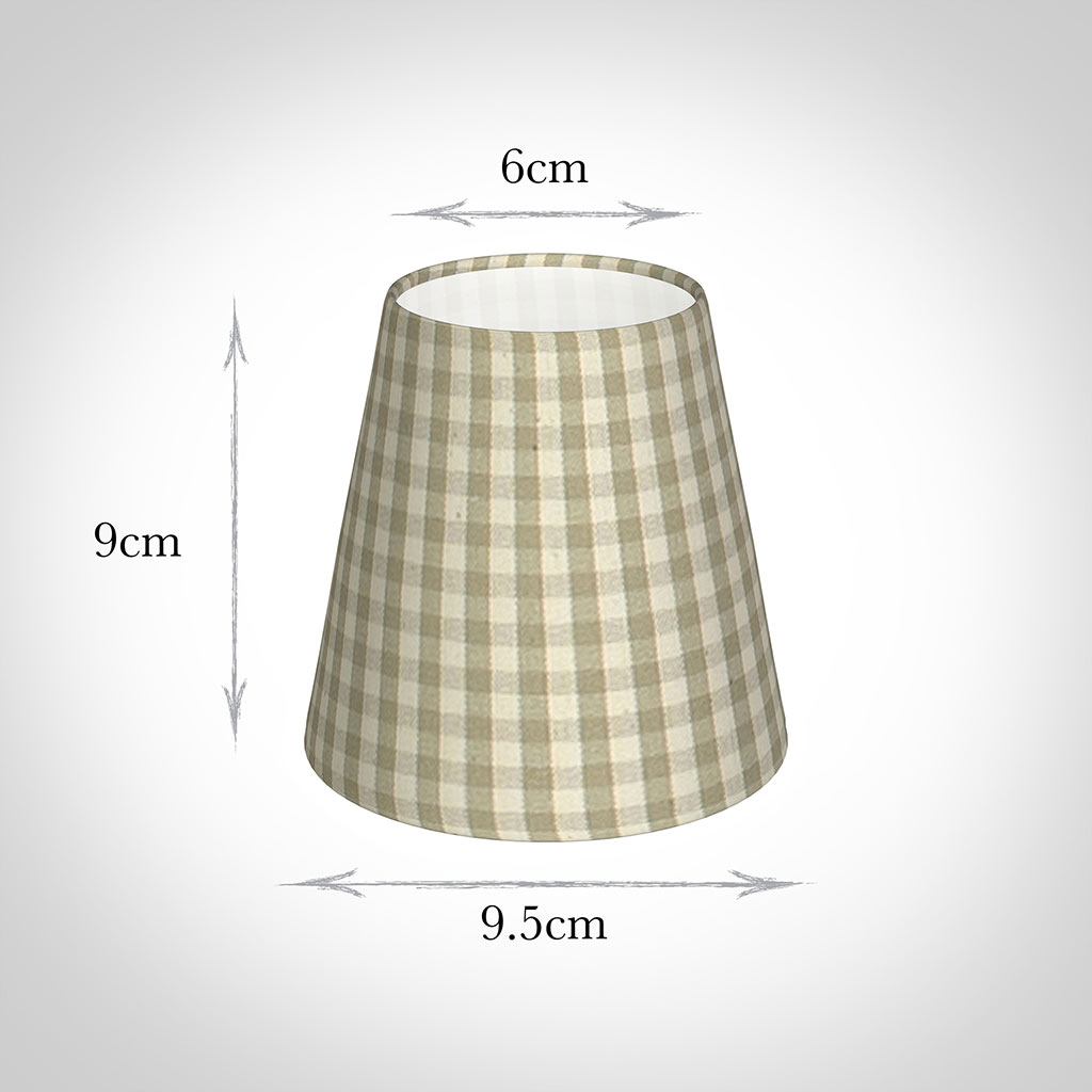 Tapered Candle Shade in Natural Gingham