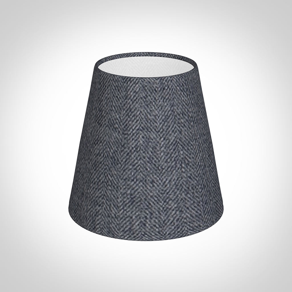 Tapered Candle Shade in Granite Herringbone Lovat Tweed
